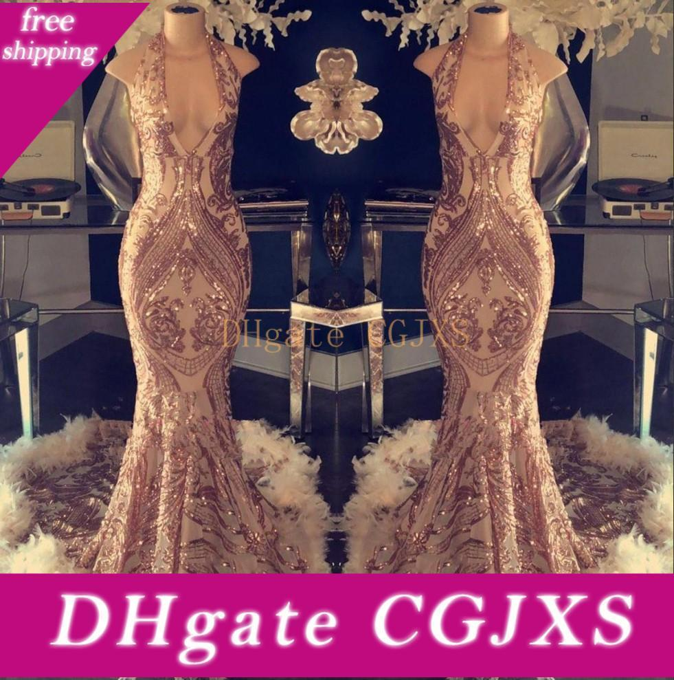 Luxury Halter Feather Mermaid Prom Dresses 2020 Sequins Lace Top Long Evening Gowns Formal Party Celebrity Gowns Bc1048