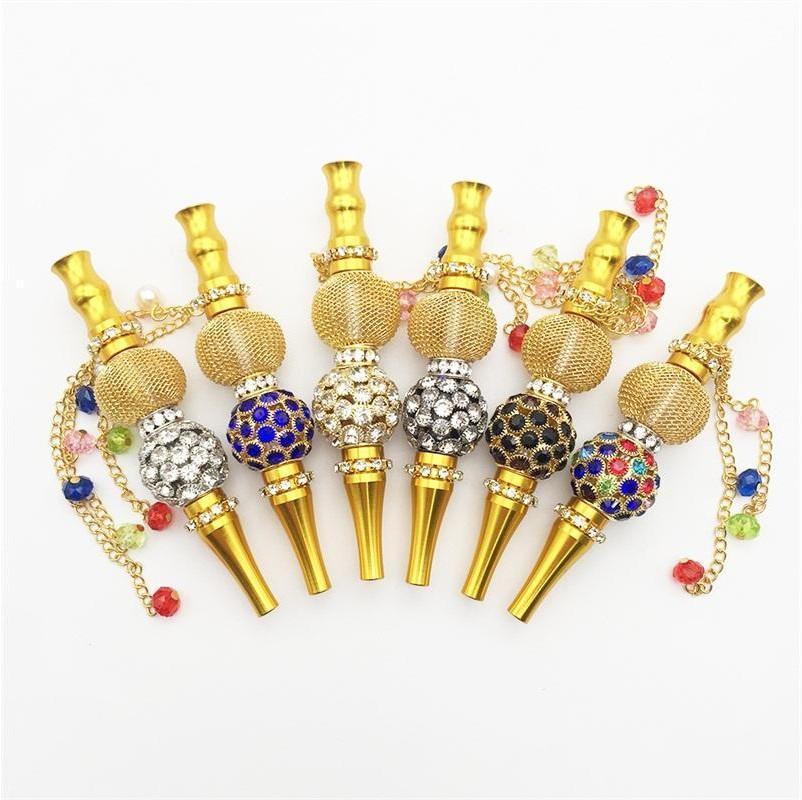Gold Plated Hookahs Rhinestone Inlay Spherical Holders Portable Smoking Pipe Bead Pendant Nozzle Smoke Pipes Hookah Tips 17mla F2