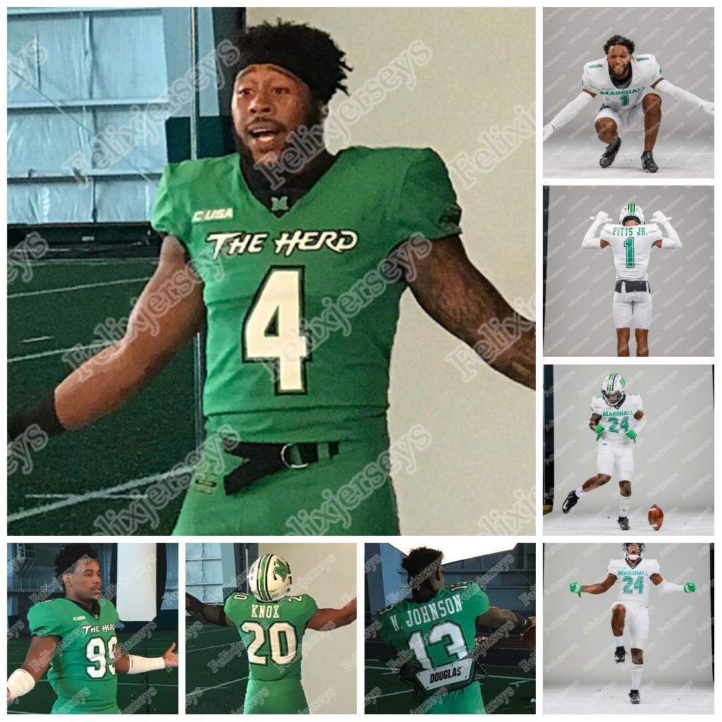 2020 Marshall Thundering Herd Brenden Knox Nazeeh Johnson Derrek Pitts JR. Eli Neal Joel Lambiotte Eli Sammons NCAA College Football Jersey