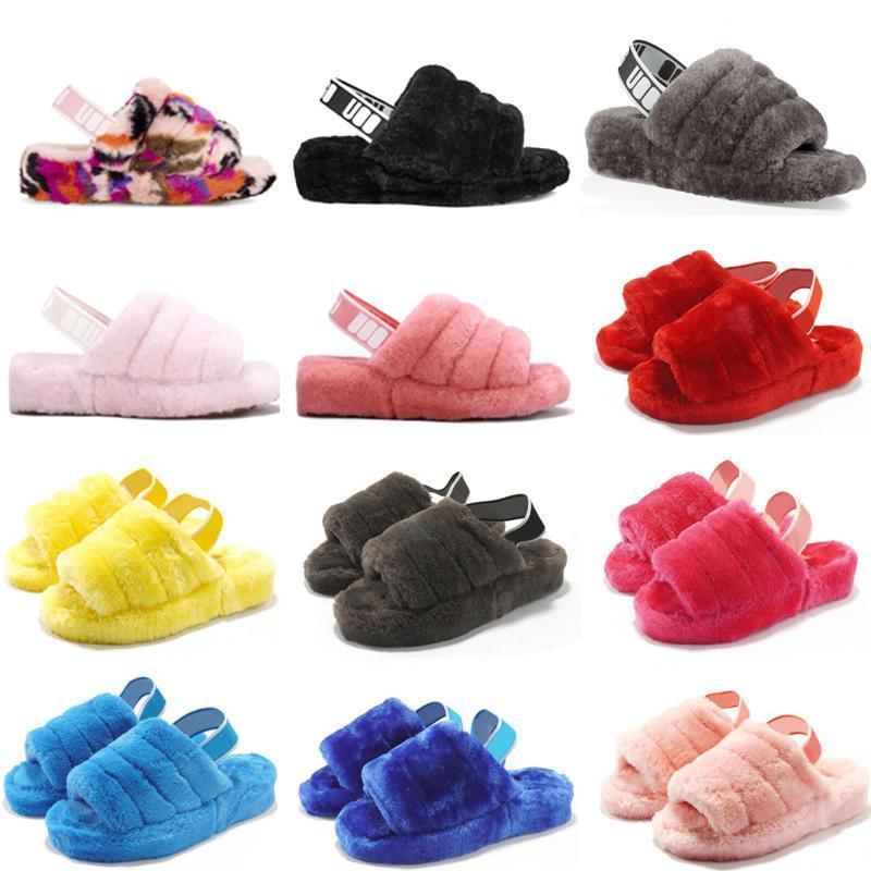 2020 New Furry Chaussons enfants Australie peluches oui glisser femmes chaussures de sport des femmes des sandales de luxe Slides fourrure Chaussons taille 36-44 4kDJ #
