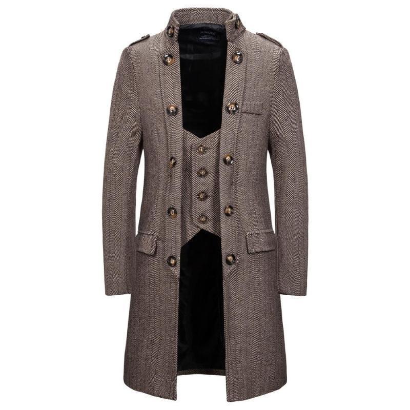 Erkek Trençkot 2020 Moda Tasarımcısı Uzun WINDBREAKER Sonbahar Kış çift Breasted Windproof Palto Uzun Ceket