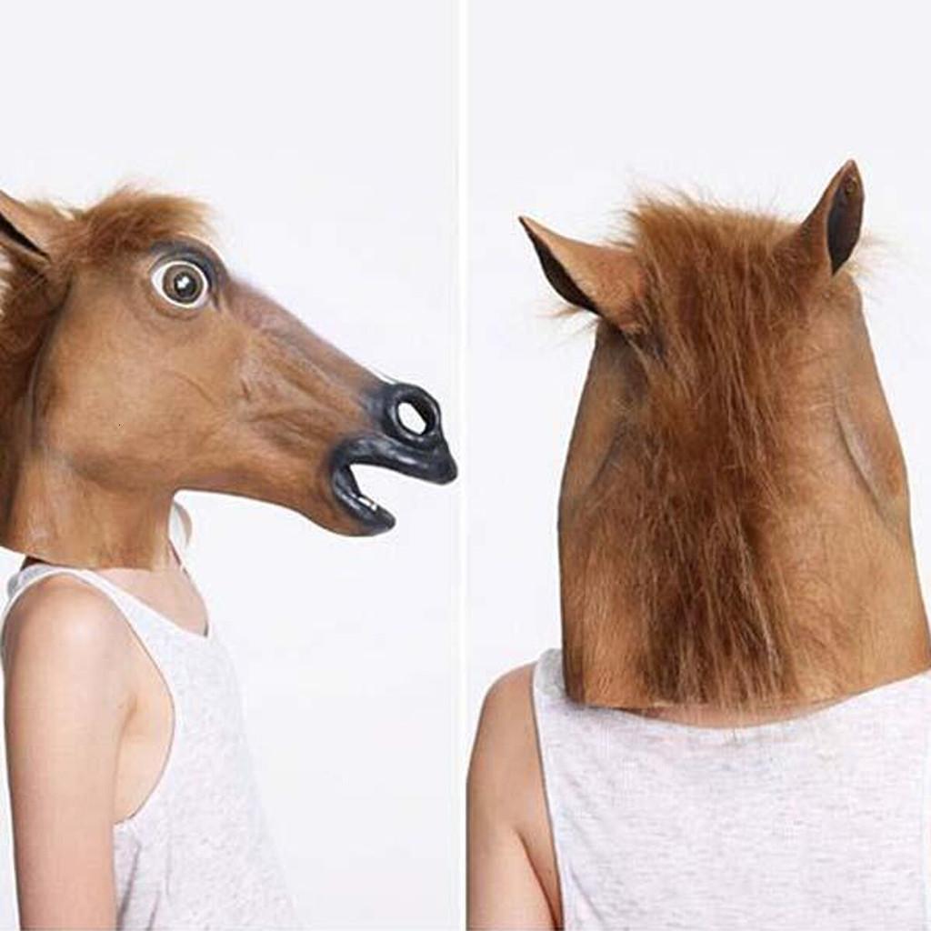 2019 réaliste Anime Cosplay Nouveau Tête de cheval Masque Latex Prop style Jouets Halloween Party K808 Y200103