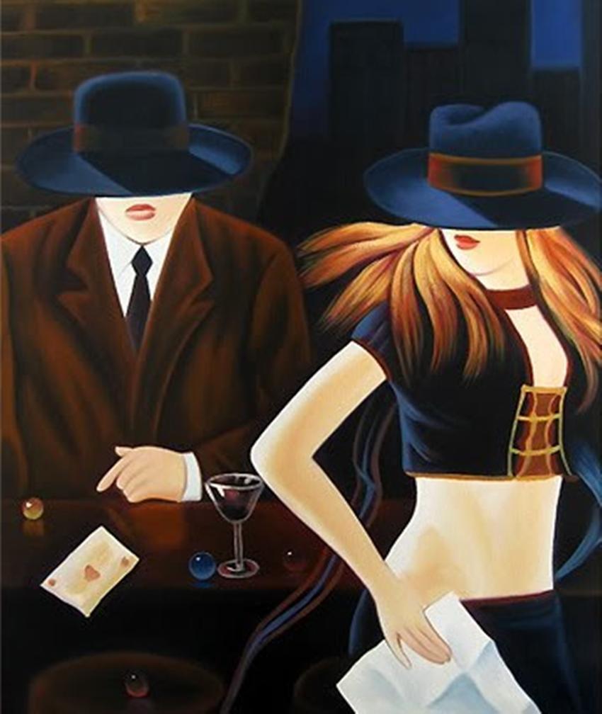Hermosa chica sombrero de decoración del hogar pintado a mano de la impresión de HD pintura al óleo sobre lienzo arte de la pared de la lona representa B061