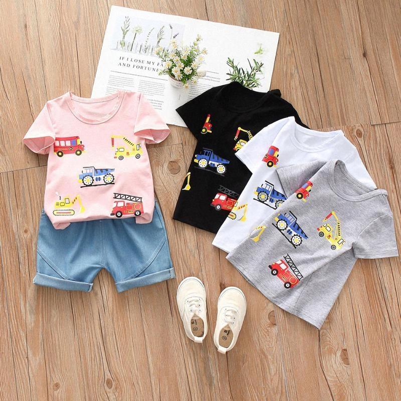 Nowborn Junge Sommer-Karikatur gedruckt Auto T-Shirt + Hosen-Kleidung stellt Kleinkind-Kind-Baumwoll 1 2 4 Jahre alt Baby Girl Outfits UQLK #