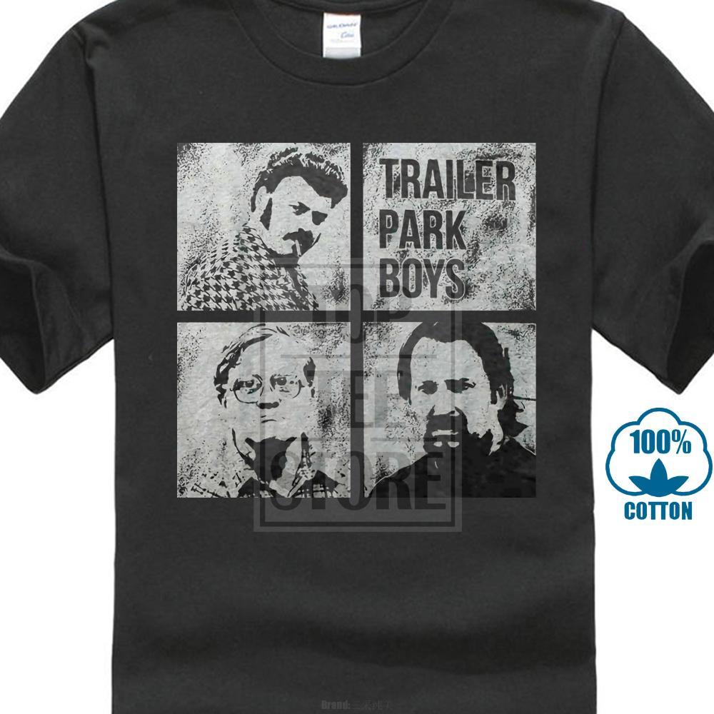 Трейлер Парк мальчиков Мужские Blocks Tee Футболка Черный 100% хлопка с коротким рукавом O-образным вырезом Топы футболки