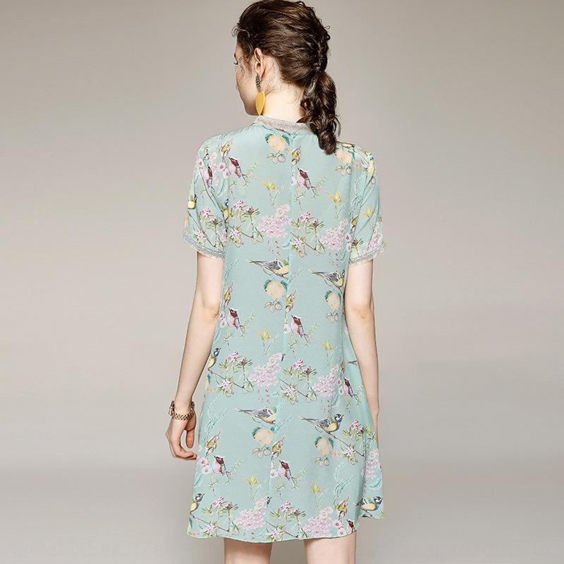 YVq0i Moda 2020 verano vestido elegante de la línea A- V-cuello de las mujeres A- falda de línea de la seda y el vestido de seda MJ2101