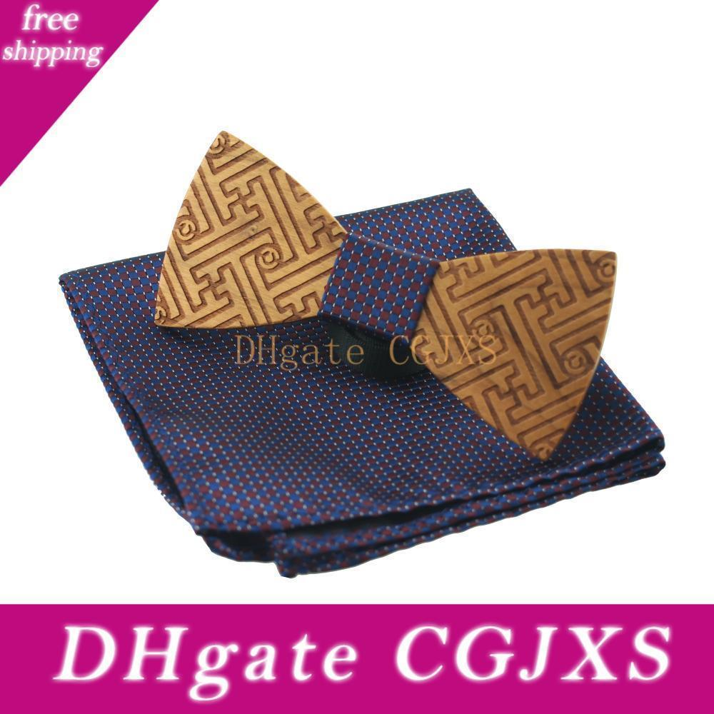 Holz Fliege für Männer Bowties Krawatten Bowknot Cravats Einstecktuch für Hochzeit aus Holz Fliege Einstecktuch Set