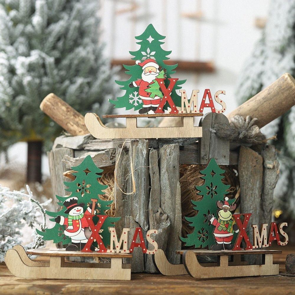 Noël ornements en bois en traîneau clause bricolage père noël ornements combinaison arbre de bande dessinée nouvelle décoration année 2019 pour la maison 5jya #