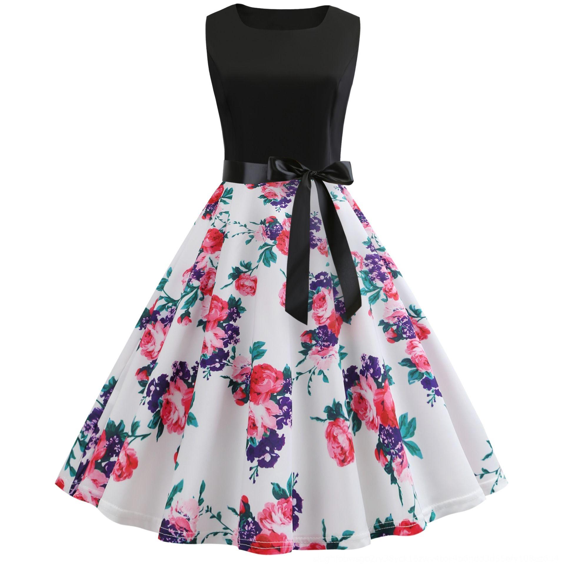 taille grand swing de style de MGnbX 2019 imprimé taille grand swing sans manches Hepburn style robe robe imprimé 2019 Hepburn