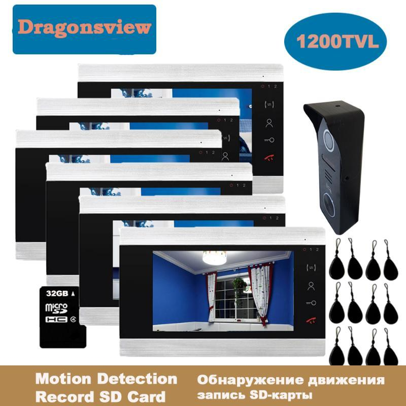 Dragonsview 7 Inch RFID Video Intercom System Video Door Phone Doorbell Cameras 3/4/5/6 Indoor Monitors Unlock Call Transfer
