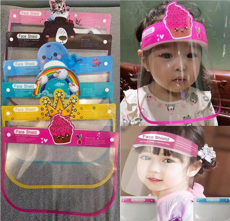 Máscaras Segurança crianças Escudo Cartton transparente máscara completa Capa protetora Unisex Dustproof anti-fog para Crianças PET face Escudo Hot