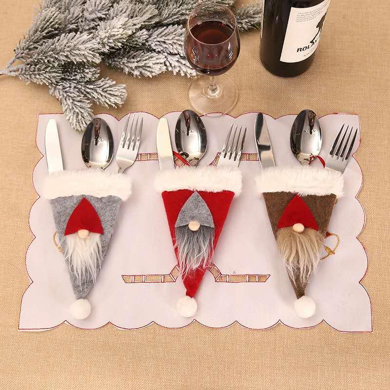 Transfronterizo Nueva Adornos de Navidad creativo Forester Cuchillo Y Tenedor Conjunto nórdica ancianos Vajilla Decoración