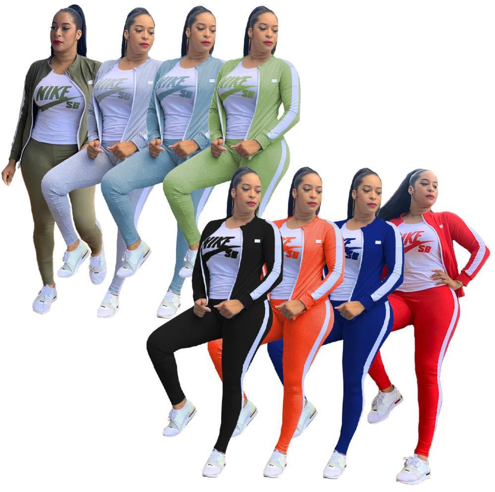 Delle donne di marca di modo Tuta Donne 3 Pezzi Set Sweatsuit Zipper a strisce Tuta a maniche lunghe Felpa + ansima gli insiemi p658 delle donne