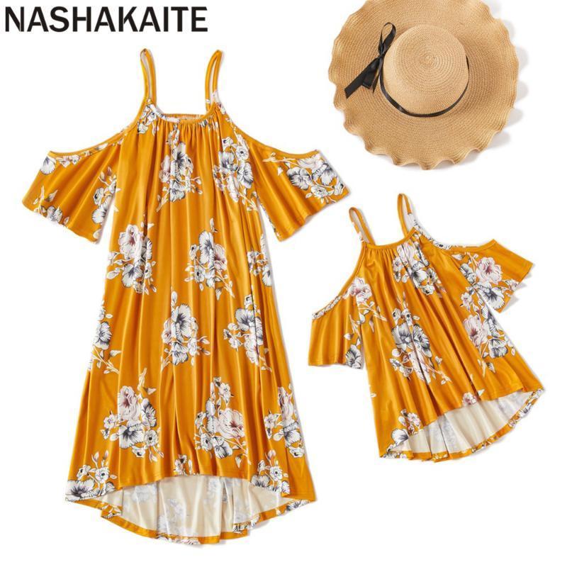 NASHAKAITE Madre e figlia vestiti giallo Stampa spalle Sling Dress Mamma e figlia abito estivo mamma mi vestiti