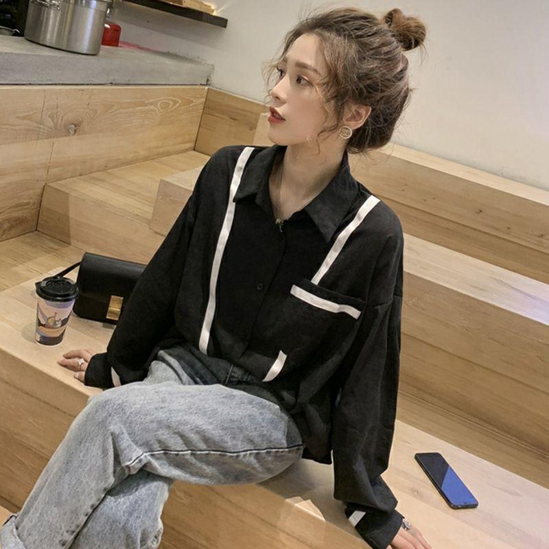 6XvWj sentido 2020 estilo coreano projeto solta novo nicho viajante chiffon Camisa base de estilo ocidental superior de Mulheres Top