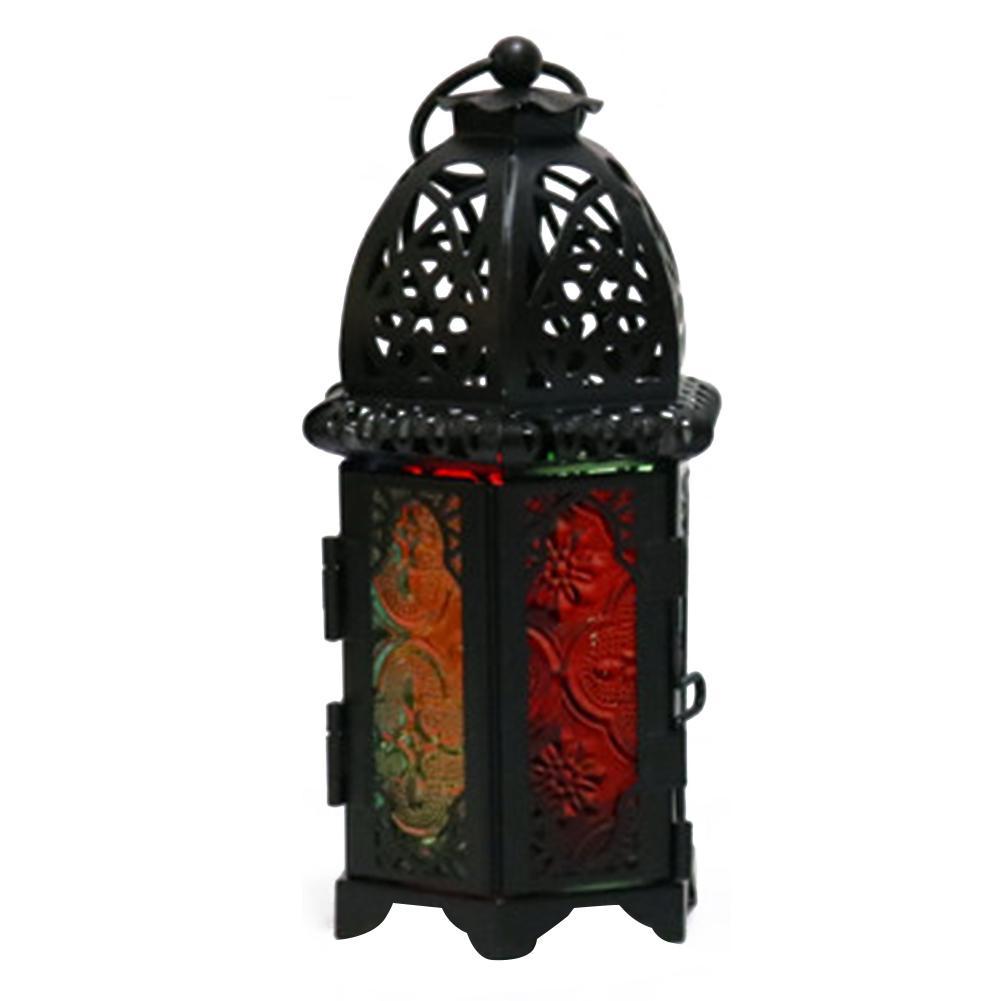 Marokkanische Art-Höhle Kerzenhalter Indoor Easy Install Eisen Glas Laterne-Lampe