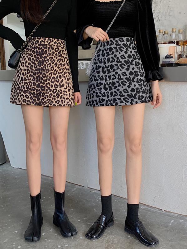 Leopard печати юбка женщин высокой талии новые весенние и осенние юбки женские мини-юбки