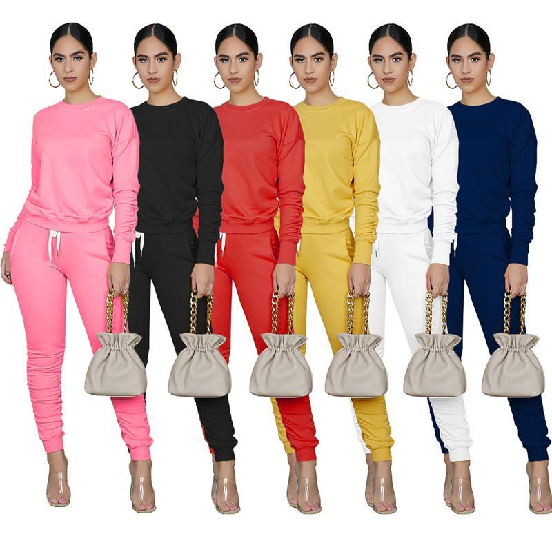 Frauen Sportswear Langarm-Outfits Hemd Hosen zweiteilige Set dünnes Hemd Strumpfhosen Pullover Sportanzug Hosen heißen Verkauf klw4674