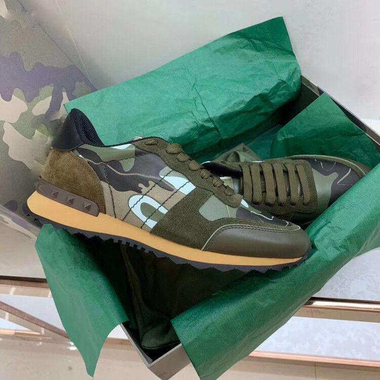 Stern verzierte Schuhe Mesh-Leder Camouflage Nieten Schuhe Combo Stars Rock Runner Metallic Schnürer Felsen Studs Größe 39-45