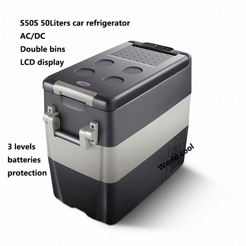 50L AC / Car DC12V24V Frigorifero auto Freezer più fresco di campeggio portatile Mini Frigo compressore Frigorifero Fridge h6Cx #