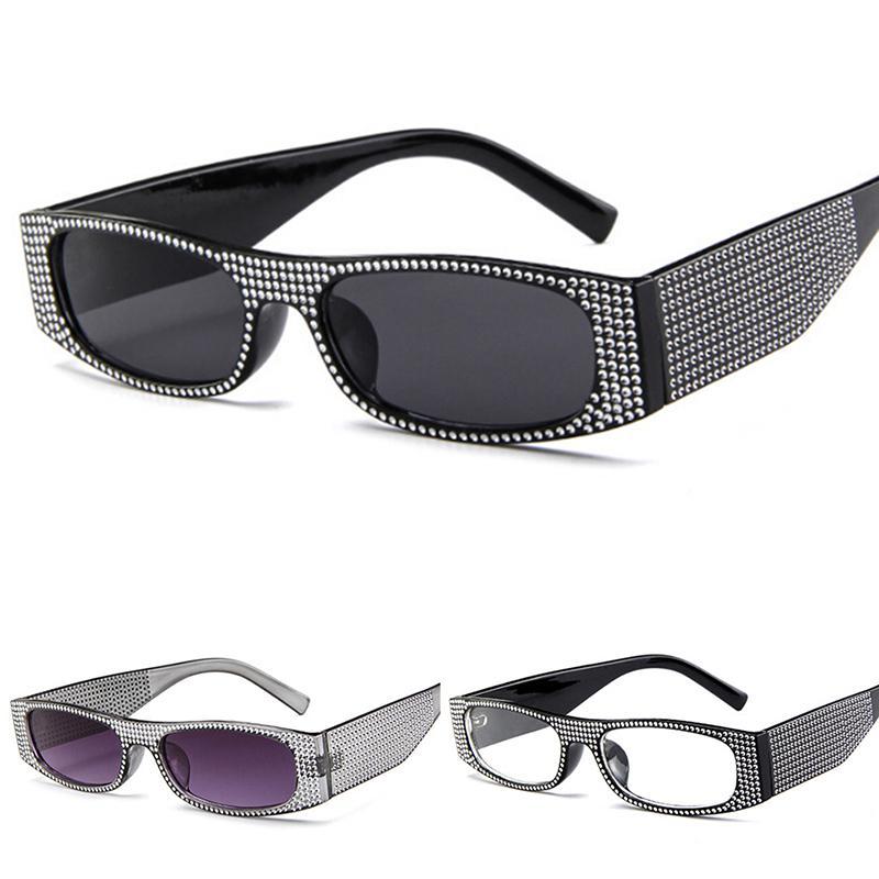 Imitation Diamant-Sonnenbrille-Frauen-Marken-Entwerfer Luxus-Platz Strass Sonnenbrillen Damen Rechteck Brillen Shades