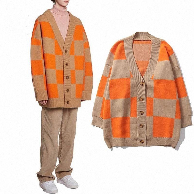 Mulheres Moda de Nova Designer Camisolas tricotadas Cardigans Outono Inverno soltos Cardigans Coats Feminino Plaid Botão Casual malha Camisolas ZLLe #