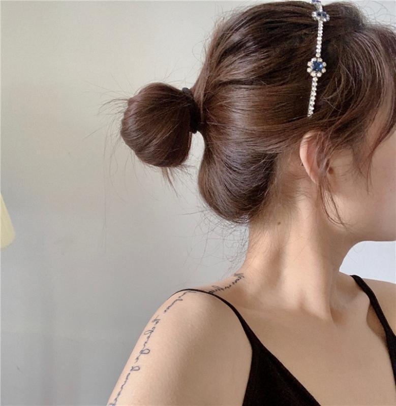 Semplice Versatile Infermieristica Retro Blu francese Drilling capelli Bands delle donne dei capelli Fixer metallo fascia fascia in linea Celebrity Celeb