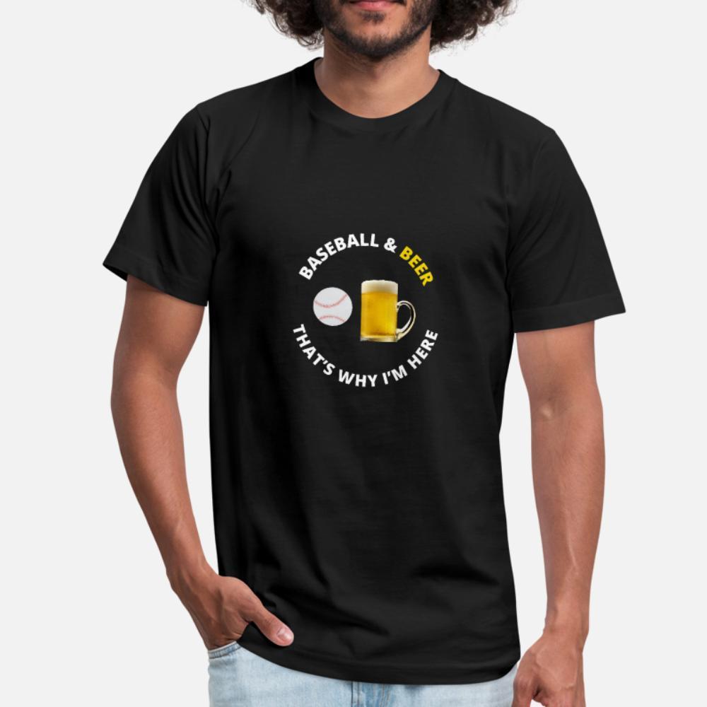 Baseball E Birra regalo dell'amante uomini della maglietta del progettista 100% cotone rotonda camicia fredda del collo sottile fitness divertente Primavera