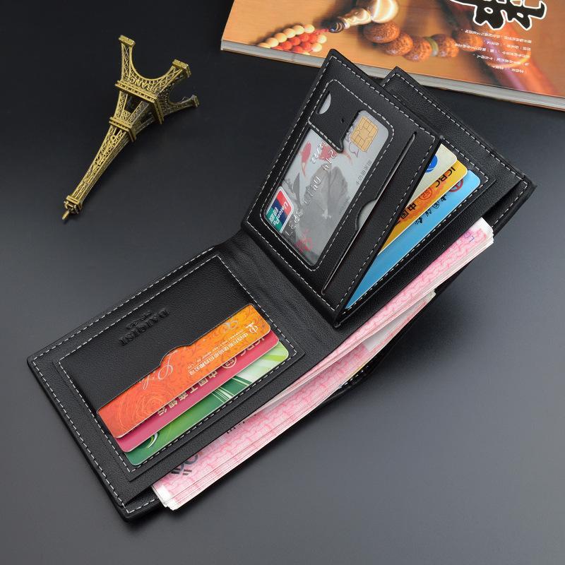Новые мужские Wallet Mens Короткие моды Тонкий кошелек Multiple карты Слоты кожаный бумажник 3 Fold молодежи Zipper Поперечное сечение Бизнес Soft