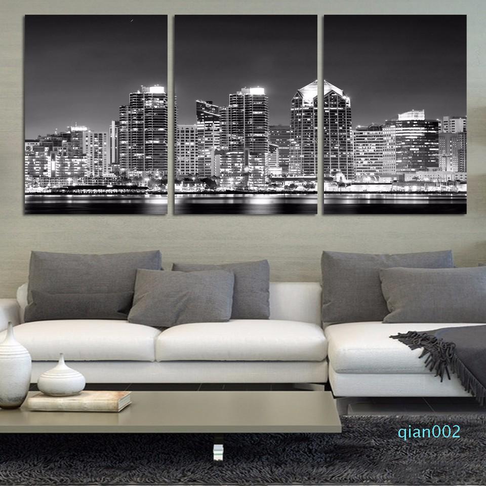 3 Pcs Black White City Night HD Printed Canvas pintura de parede Pictures para sala de estar Wall Art No Frame