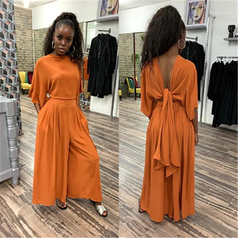 La moitié manches Suits Designer d'été Femmes col rond Pantalons Sets Femme plissés en vrac Survêtements Mode Tendance à mi taille Casaul