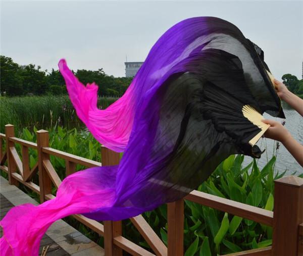 Свободная перевозка груза 100% Real Silk танец живота Вентилятор Veil Пары Китай Bamboo веер 180см градиент цвета Bellydancer Черный Фиолетовый