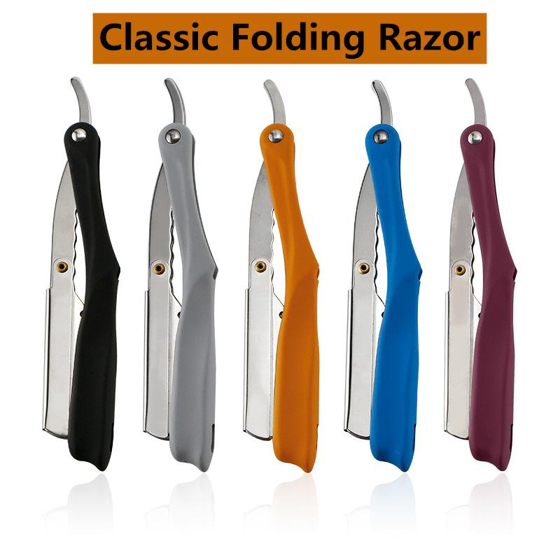 Retro Folding Stainless Steel Razor Face Shaving Knife Rubber Handle 74 Blade Shaver Beard Repair Razor Beard Knife G0624