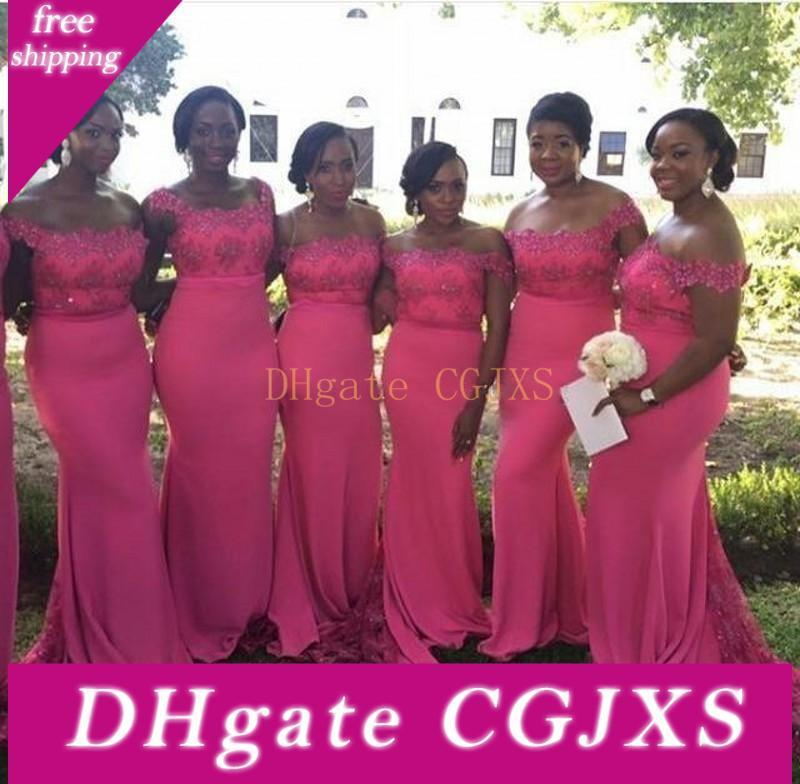 2017 New South African Satin Cheap Bridesmaid Dresses Off Shoulder Lace Applique Floor Length Maid Of Honor Dress Wedding Party Gowns