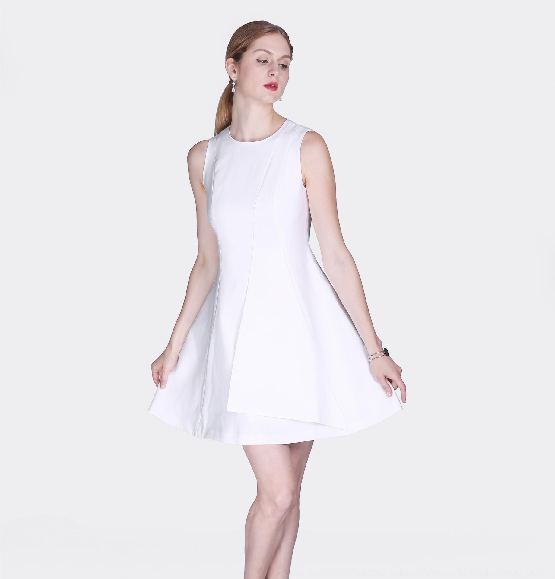 zn2LU 2019 Tangli Tangli été nouvelle robe taille robe col rond blanc sans manches doux de kXXTH