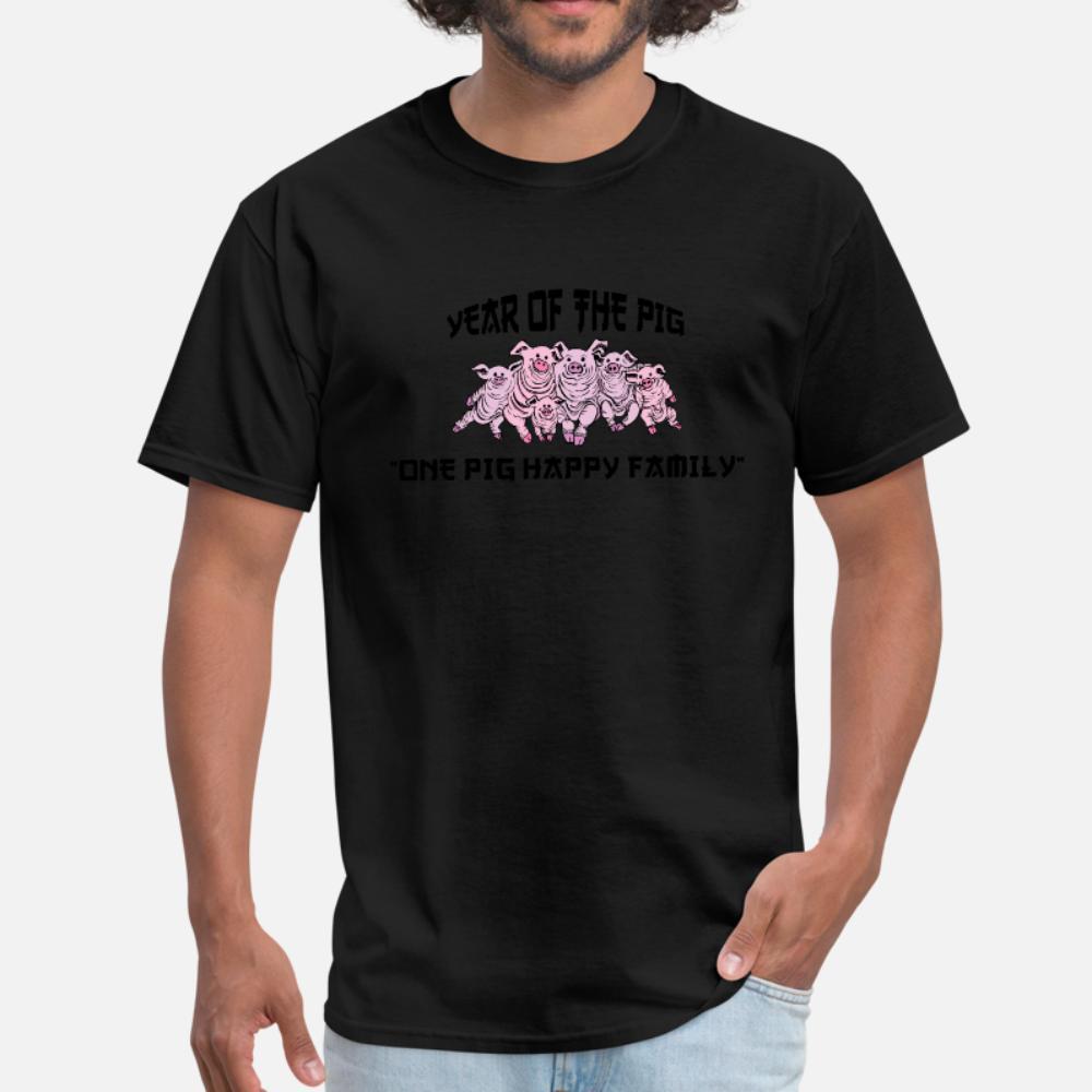 Ano engraçado da camisa t homens Pig personalizado camisa camiseta gola Letters solta respirável Verão Estilo Vintage