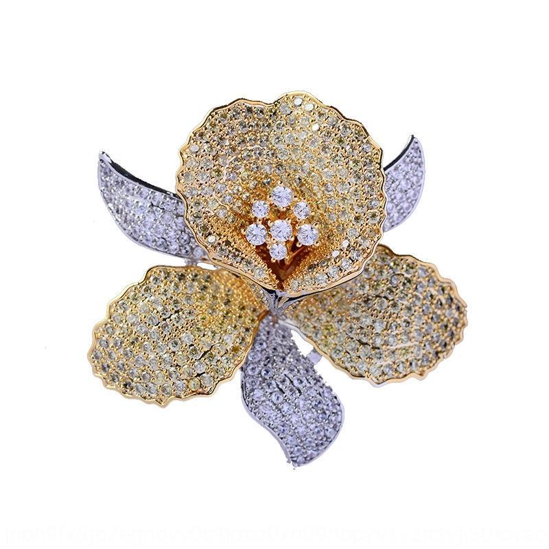 GiWPN Koreanatmospheric intarsiato spilla con un colorato zircone pin abito accessori spilla fiore accessori pin Coat orchidea di alta qualità cappotto per