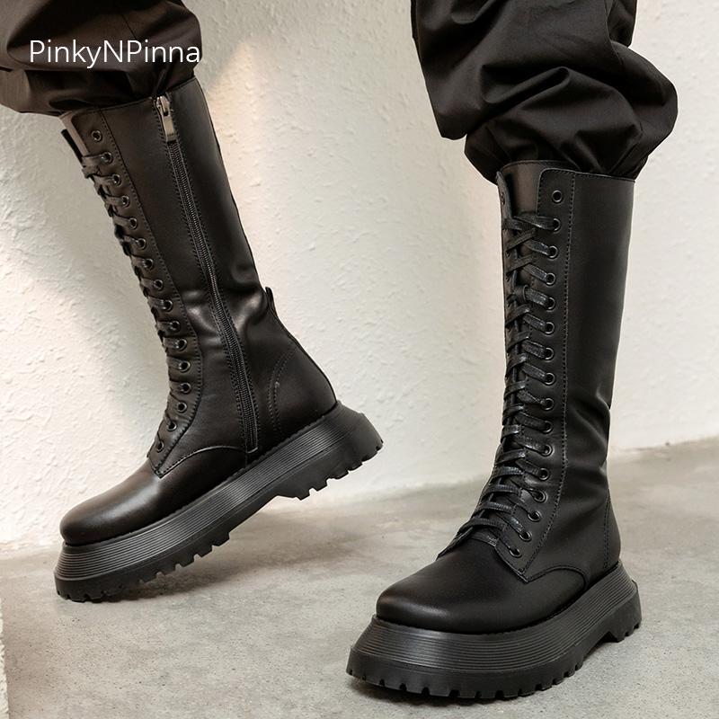 2020 Herbst neue Stardesigner Frauen echtes Leder schwarz Mitte Wade Stiefel Plattform Straßenseite Reißverschluss schnüren oben weich Modell Schuhe
