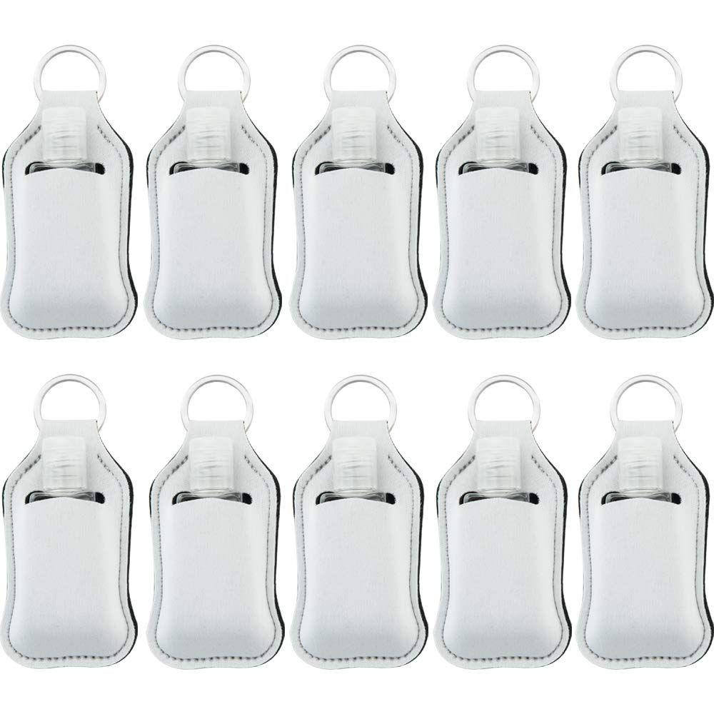 Sublimation Impression Couleurs blanc néoprène savon liquide bouteille Porte-bouteille 30ml Désinfectant pour les mains Porte Keychain GH592