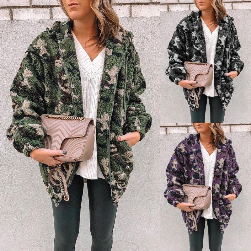Drop Herbst-Winter-Damen Designer Cashmere Coats Camouflage Printed Fleece mit Kapuze Hoodie Mäntel Plus Size Frauen Kleidung