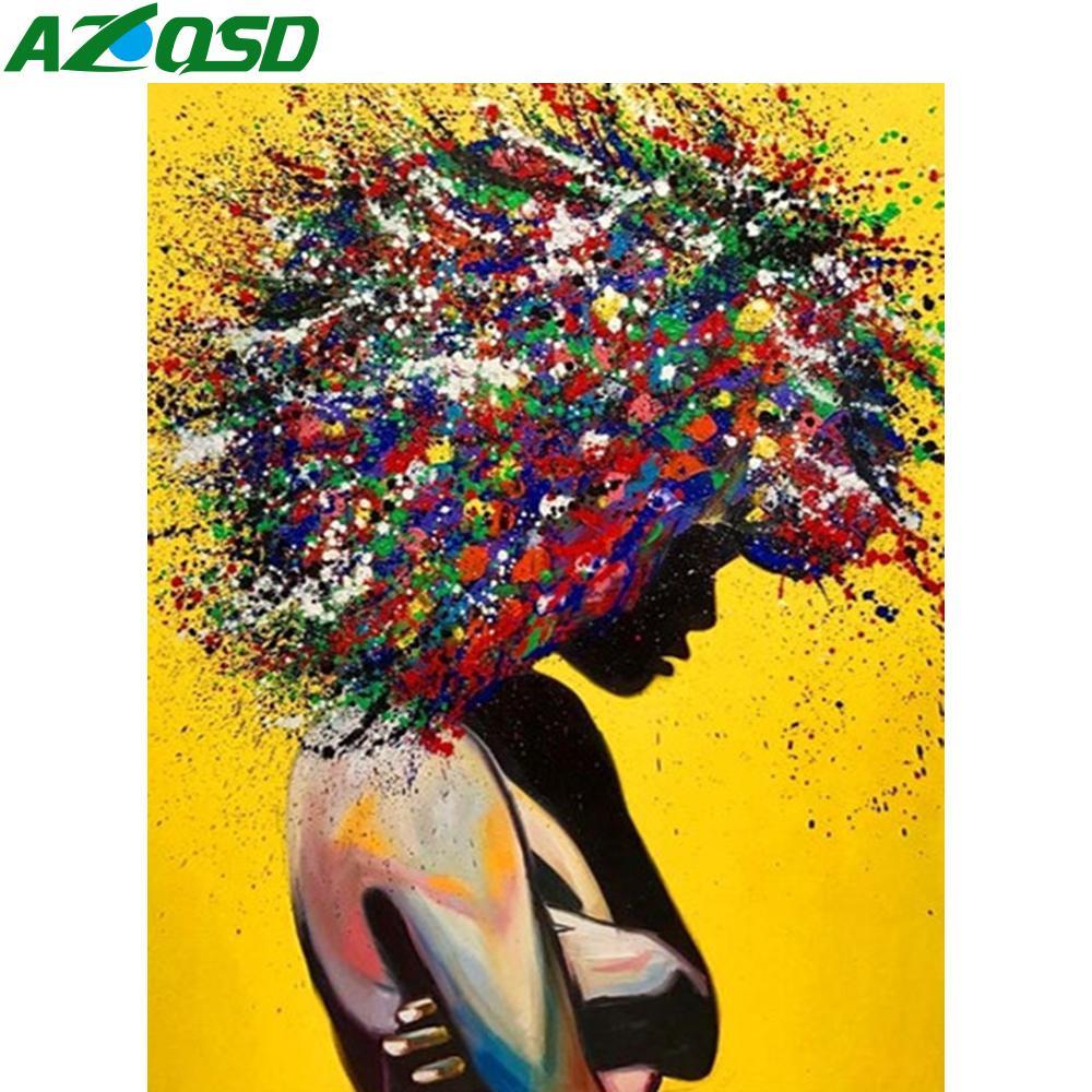 AZQSD DIY картины Количество холст наборы Портрет ручной работы подарков рисования на холсте Раскраска By Numbers Девушки украшения дома