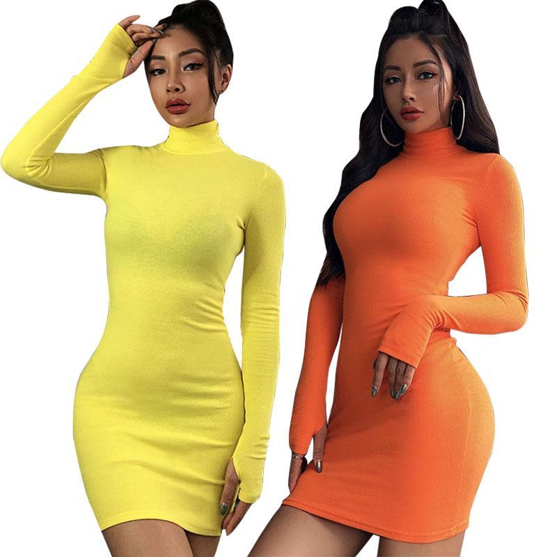 여성 Bodycon 드레스 가을 긴 소매 드레스 여성 하이 칼라 캐주얼 드레스 가을 여자 섹시한 드레스 9 개 색상 050818