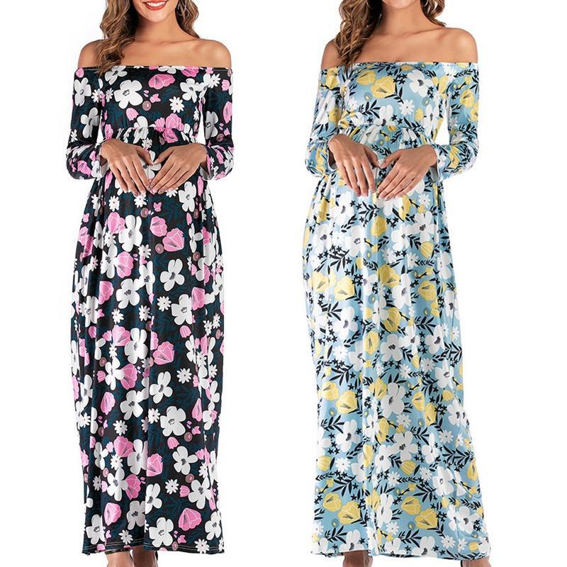 Vestido de la manera de enfermería Embarazo maternidad vestido floral Palabra hombro de las mujeres embarazadas falda