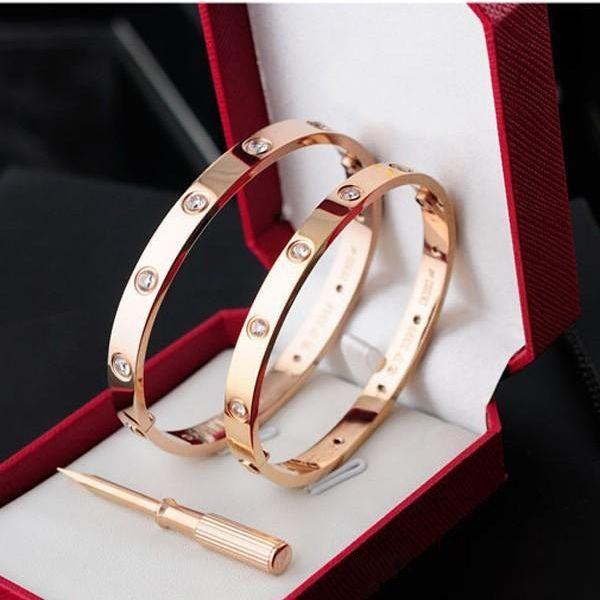 Clássicos da Moda designer de jóias Rose ouro aço inoxidável 316L pulseira de rosca pulseira, com chave de fenda e caixa original homens e mulheres amor