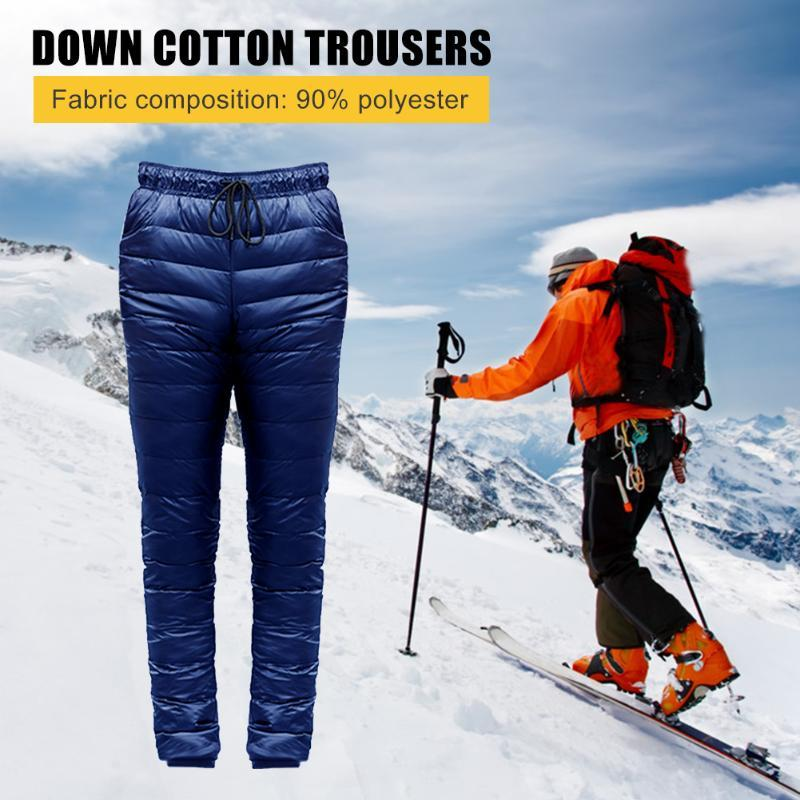 Skiing Pants Men Down Waterproof Plus Size Thickened Climbing Trousers Outdoor Sports Windproof Warm Camping