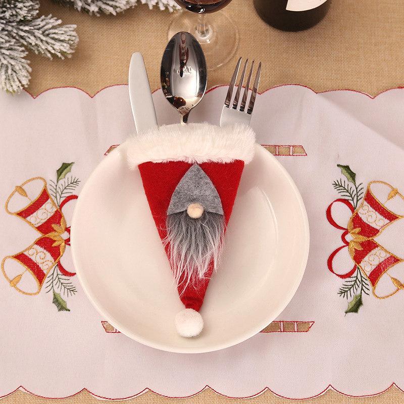 Mode Cartoon Elf couverture arts de la table de Noël cas de couteau fourchette rouge pend arbre de Noël de fête Party Home drop ship décoration