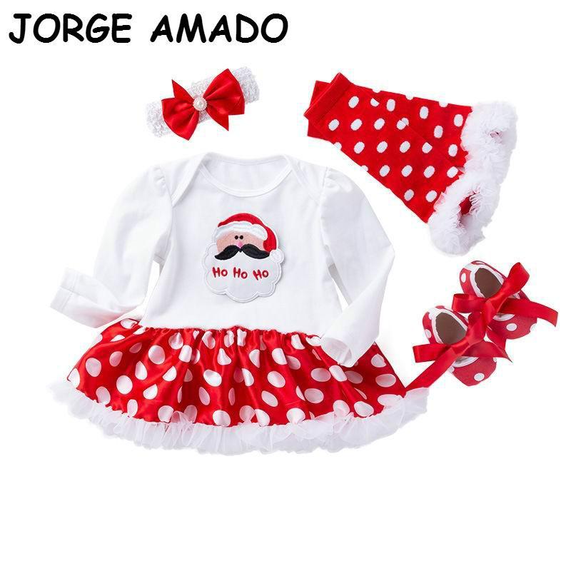 Baby Girl de Noël Ensembles robe Bodysuit + chaussettes + Chaussures + Bandeau pois Coton Tenues Vêtements bébé nouveau-né YK016