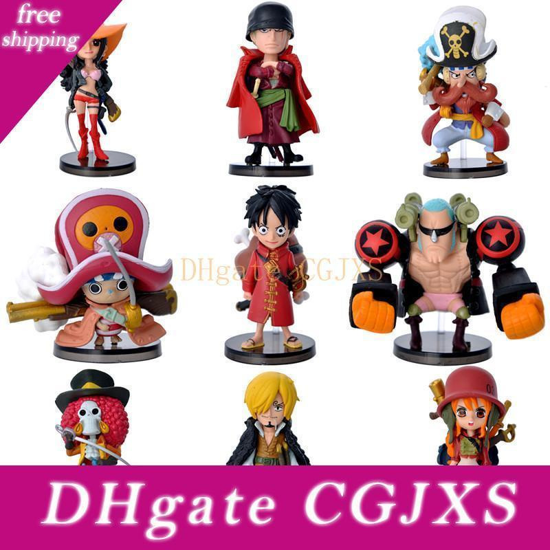 Cool 3d 9pcs /Set Anime One Piece Pvc Action Figures Cute Figure Toys Dolls Model Collection Toy Brinquedos