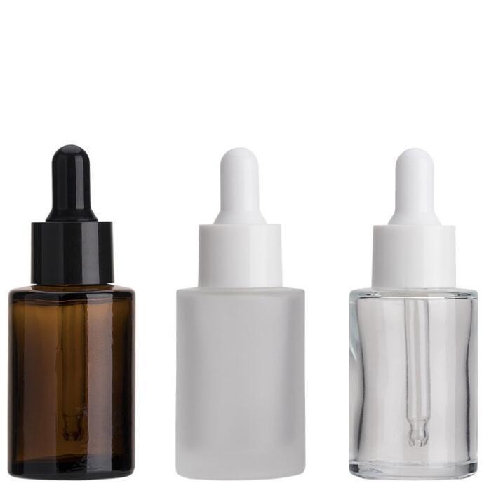30 ml Cam Şişe Düz Omuz Buzlu Temizle Amber Cam Yuvarlak Esansiyel Yağı Serum Şişe Cam Damlalıklı Parfüm Şişeleri Deniz GGA3637