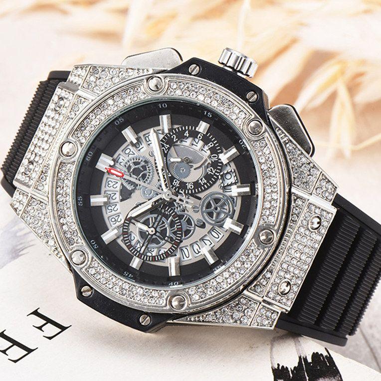 2020 Mode Hommes Luxe Quartz Chronographe Montres Hommes Diamond Watch Sport Montres Hommes étanche Horloge Masculino montre-bracelet Relogio